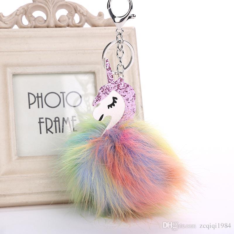 شعبية بيغاسوس كيرينغ حقيبة يد أقراط للنساء الحيوان الفراء الكرة مفتاح سلسلة مزيج الألوان أعلى جودة