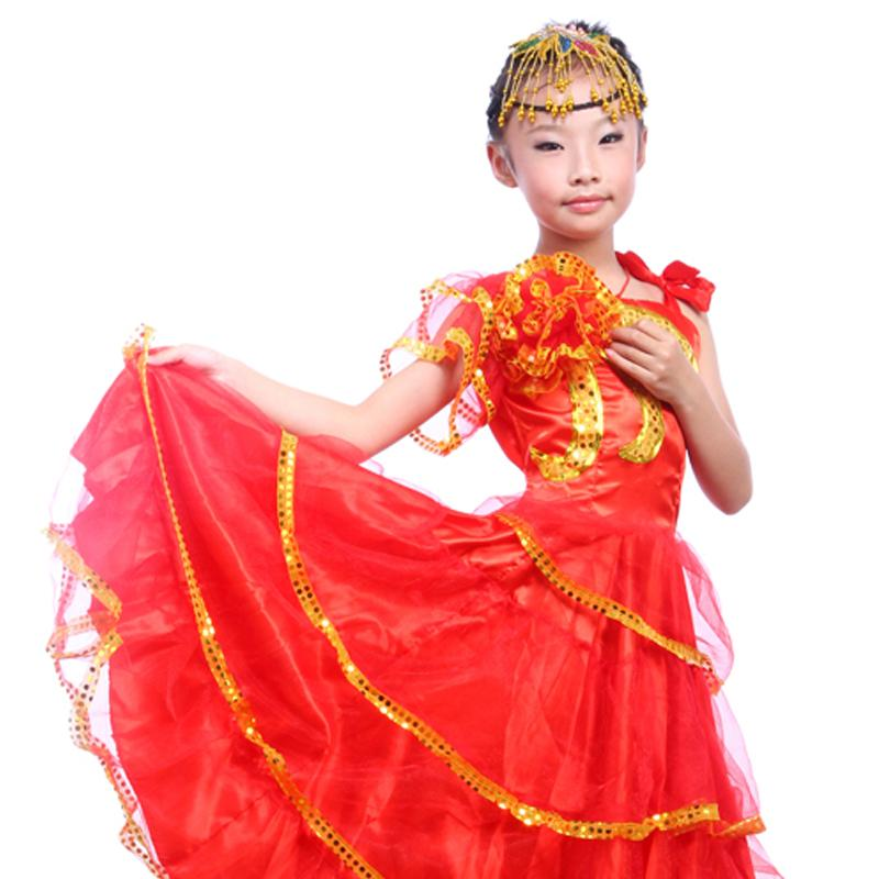 fa4b58324175 Kid's Flamenco Dance Dress Opening Dance Costume Girl Flamenco Dancing  Clothes Spanish Paso Doble Costume