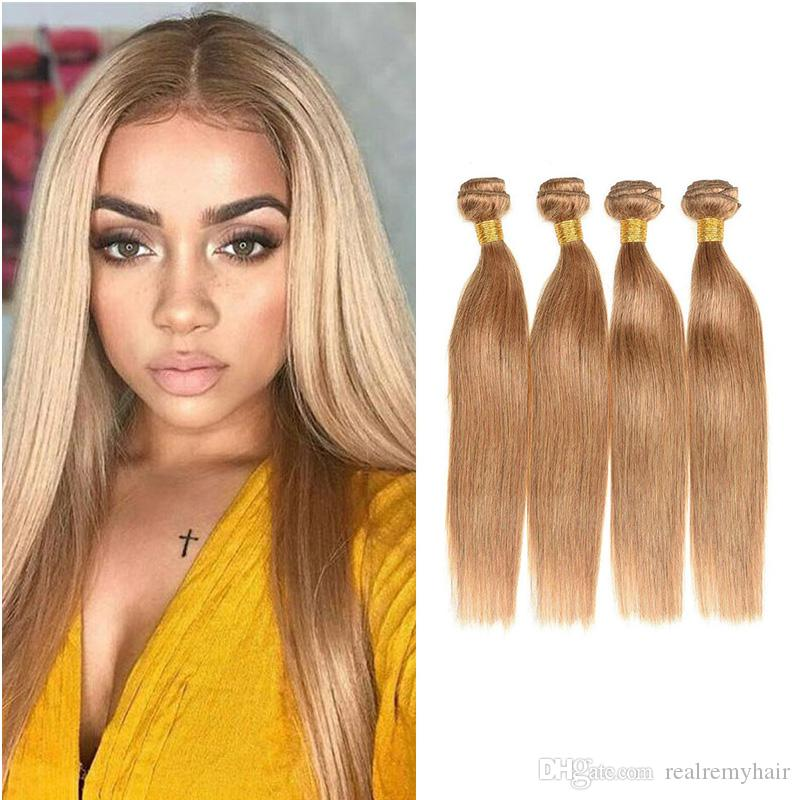 Brazilian 27 Honey Blonde Human Hair 4 Bundles Deals Colored
