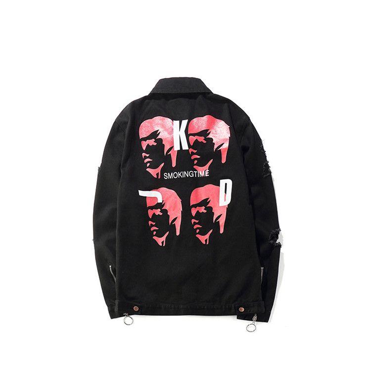 7c6749562 Men black denim jacket design cotton streetwear distressed hole print hip  hop long sleeve demaged coat plus size