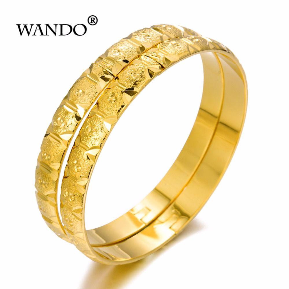 32e1a695a5873 WANDO 2pcs/lot openable Dubai Gold Bangles width Women Gold Bracelets  African European Ethiopia girls Jewelry bride gift wb85