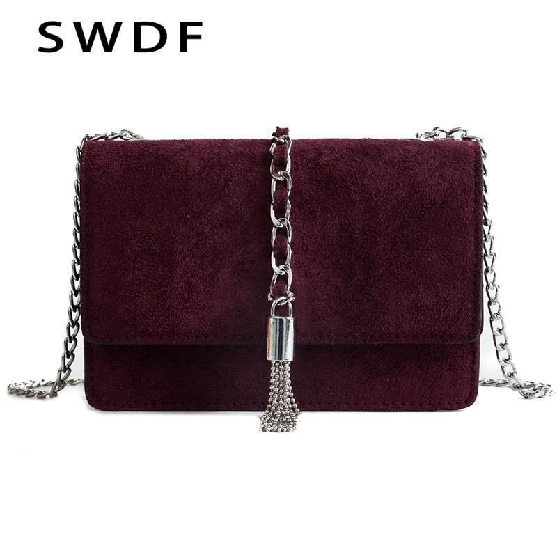 7ccac3b65f SWDF 2018 New Fashion Tassel Handbags Package Cover Type Fashion purses  Chain Simple Shoulder Bag PU Leather Messenger Woman Bag