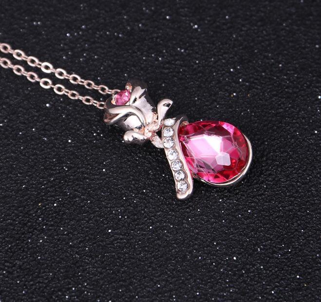 Or Rose Diamond Flower Rose Pendentif Collier avec cristaux Element Bijoux en argent Collier strass pour les femmes Valentine d1