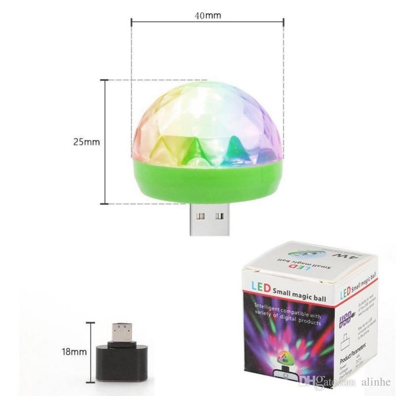Micro USB Stage Light 4W Magic Ball RGB lámpara Disco Magic Club Party Decoración del hogar Efecto de iluminación para teléfono móvil Banco de potencia