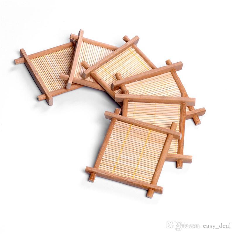 Bamboo Tea Cup Mat Square Coaster set Handmade Place mat For Kungfu Tea Set Kitchen Accessories Drink Tea Tools LZ1335