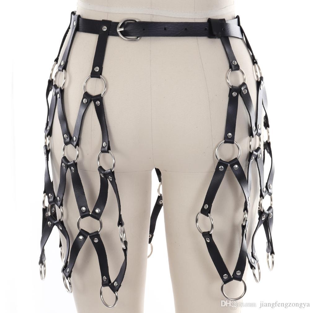 Mode Harajuku Handcrafted clouté cuissardes und cuir du genou jambe jarretière ceinture harnais bretelles