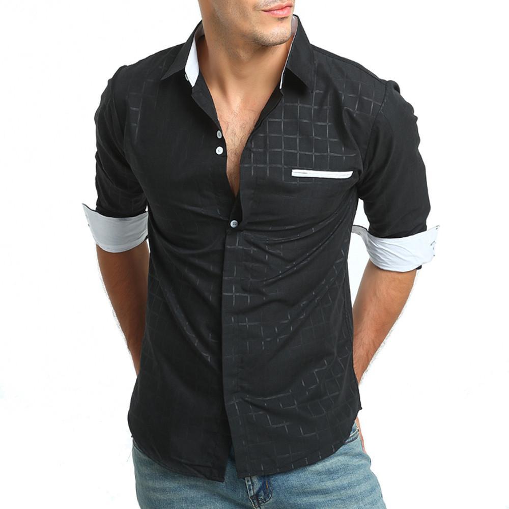 0a793f97c Men's Autumn Casual Formal Plaid Slim Fit Long Sleeve Dress Shirt Top  Blouse men clothes 2018 men shirt short sleeve hawaiian