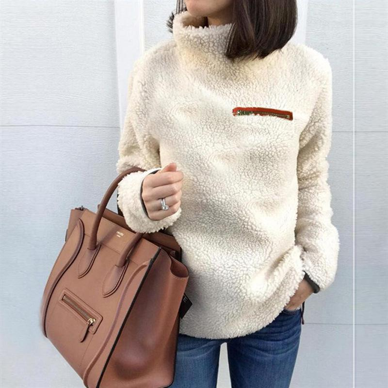 2019 Women Fashion Turtleneck Sweater Pullover Tops Fluffy Fleece Warm  Autumn Winter Long Sleeve Zip Solid Sweaters From Huiwu 6debc659b
