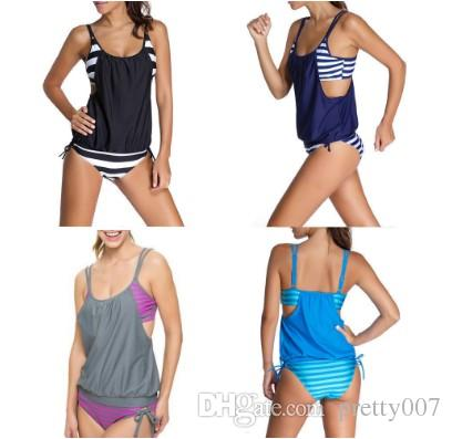 b02acf26adfd8 2019 Womens Clothing Swimwear For Womens Stripes Lined Up Double Up Tankini  Top Sets Swimwear S 3XL Bathing Suits From Pretty007, $11.33   DHgate.Com
