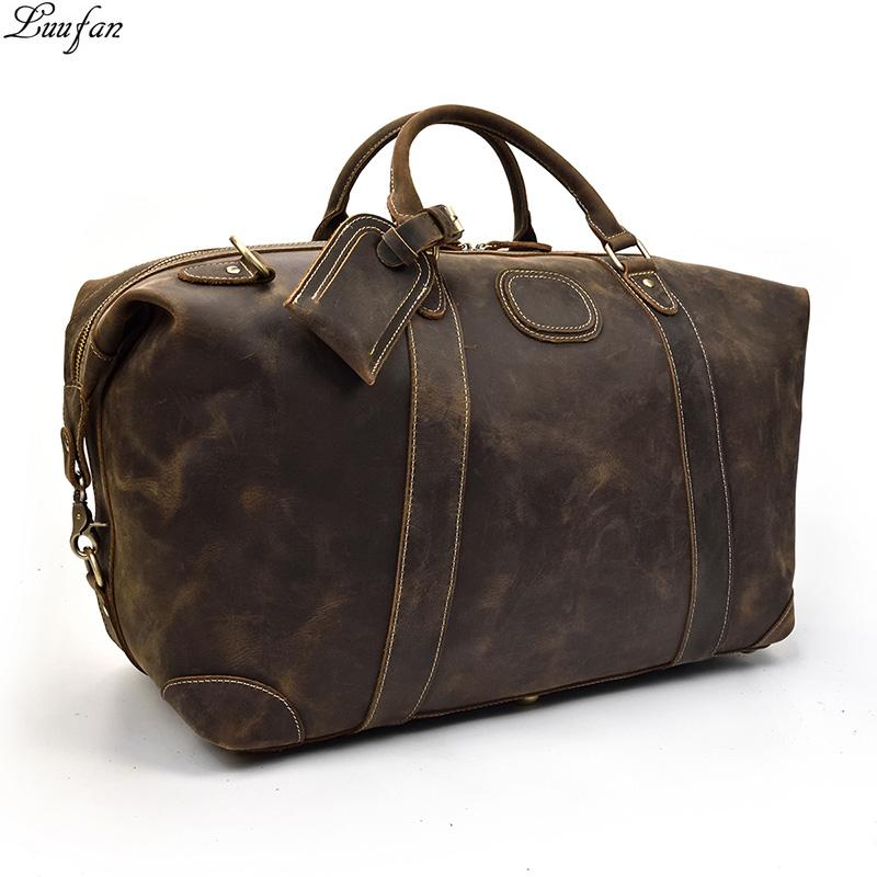 Men Big Travel Bag Durable Thick Crazy Horse Genuine Leather Travel Duffel  Vintage Retro Weekend Luggage Bag Large Shoulder Bags Mens Duffle Bags  Overnight ... 58b3efd972