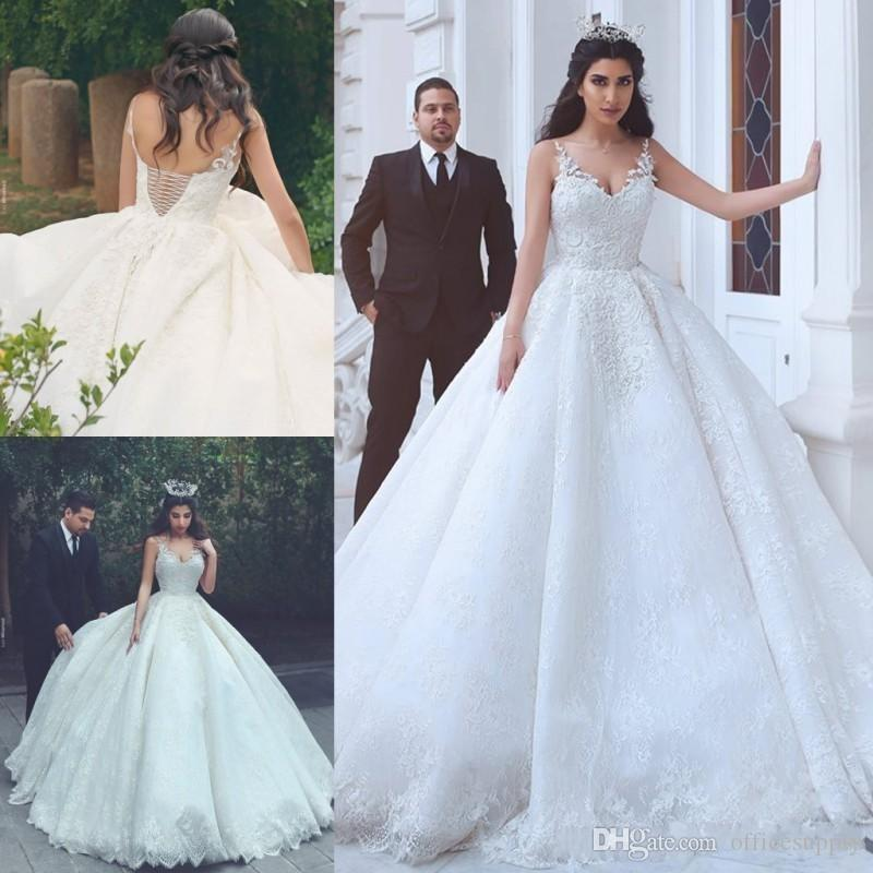 Discount Arabic V Neck Lace Wedding Dresses Cheap Sleeveless Corset