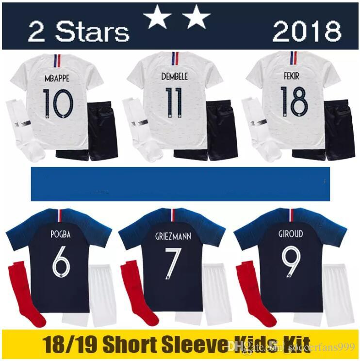 31bd7b2cf8e 2019 2 Stars 2018 2019 Kids Socks Soccer Jerseys World Cup Home Pogba 18 19  PAYET MBAPPE GRIEZMANN COMAN Child Maillot De Foot Football Jersey From ...
