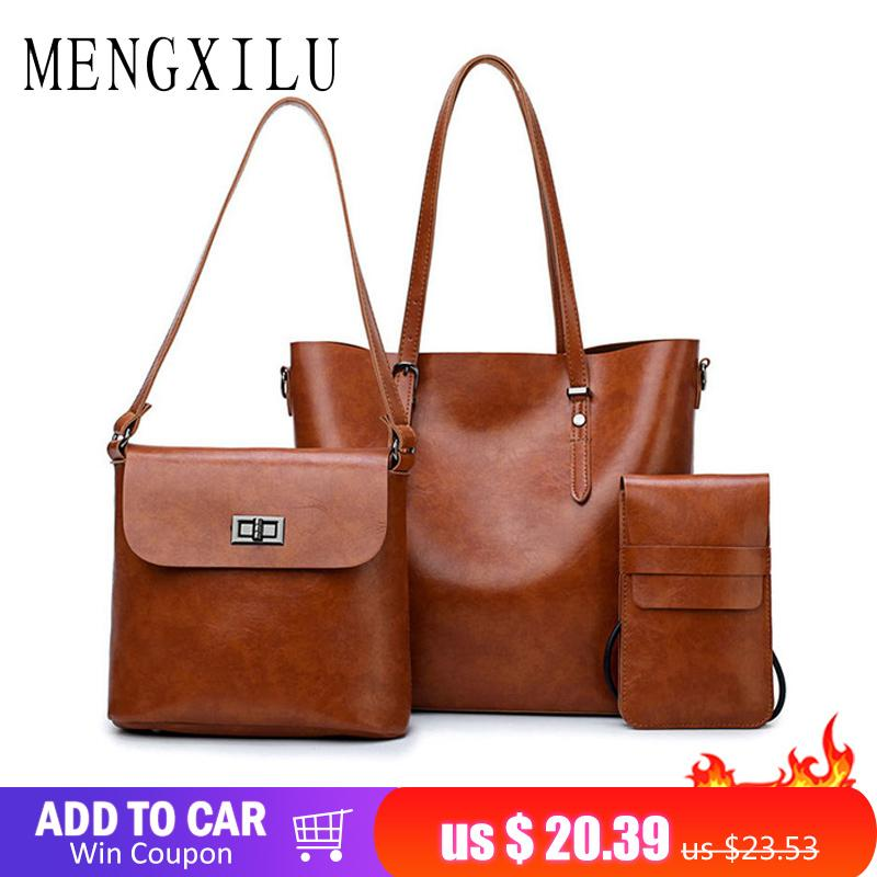 ca8e560923 2019 Fashion MENGXILU Leather Women S Handbag Bucket Women Bags Handbags  Women Famous Brands Big Casual Tote Bag Ladies Shoulder Bags Handbag Sale  Side Bags ...