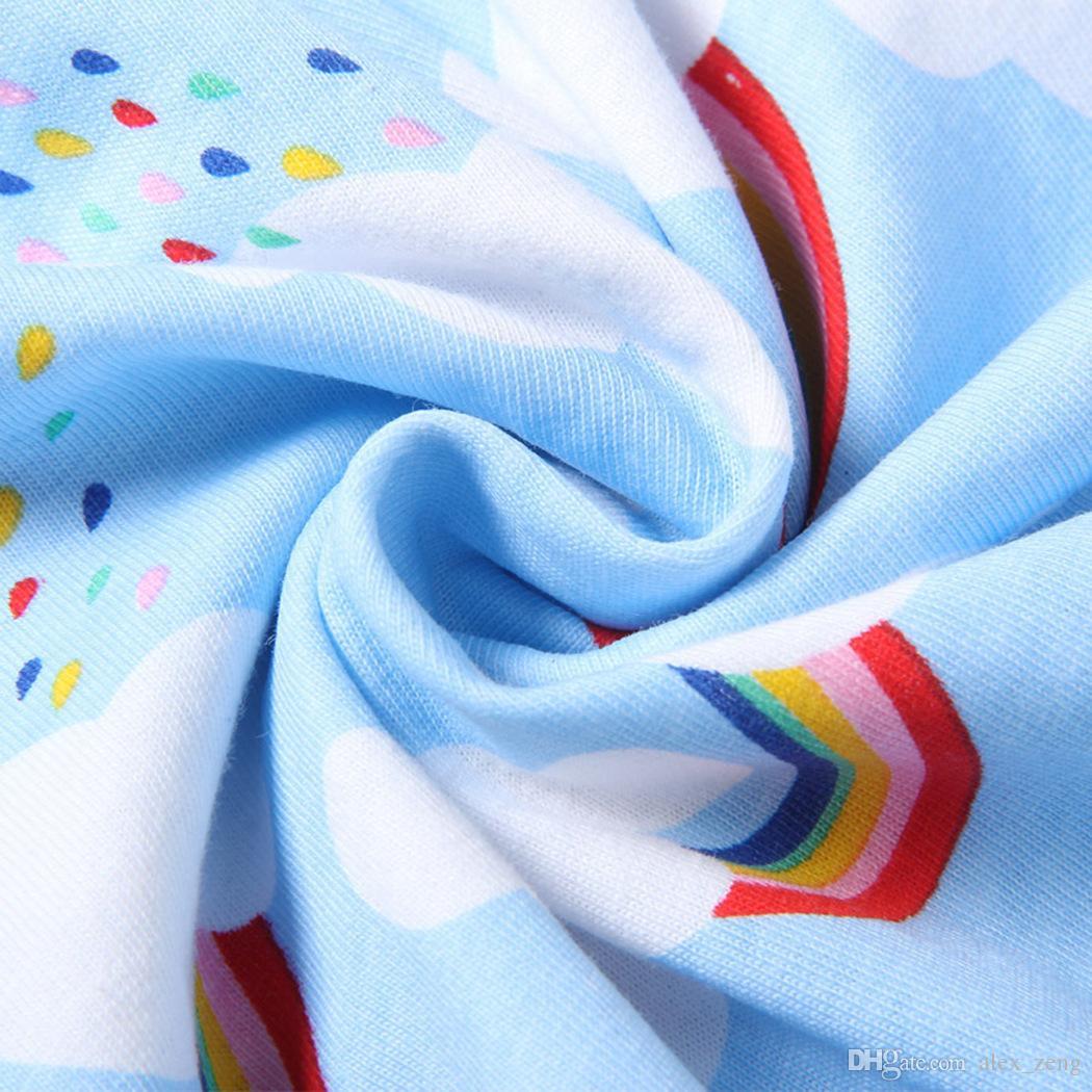 Vestido del chaleco del arco iris de las muchachas del bebé Cielo de la nube borde impreso del borde del cordón Falda del vestido suave respirable 2018 Vestidos del verano 2-11T