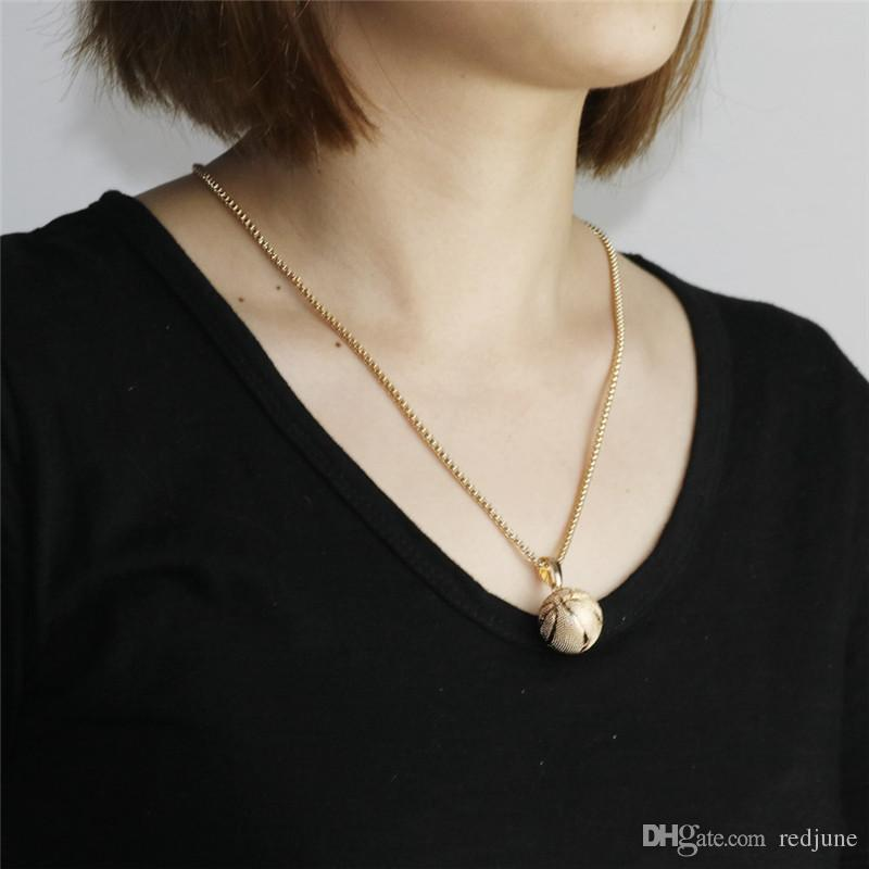 Basketball Pendant Necklace Gold Stainless Steel Chain Necklace Women Men Sport Hip Hop Jewelry Basketball Football Lovers Gift