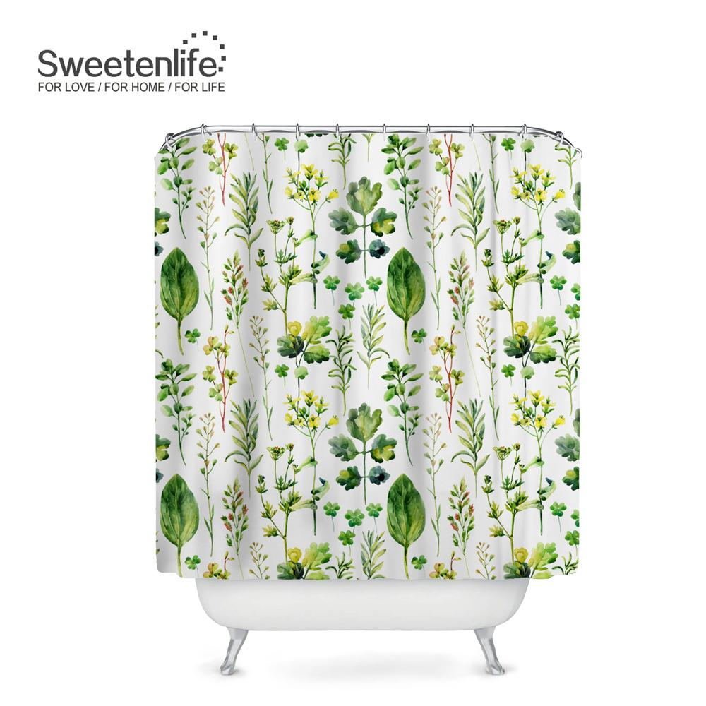 Sweetenlife Pastoral Bathroom Curtain Designs Green Plants Waterproof Shower Hooks High Quality Bath Curtains Customize UK 2019 From Hariold