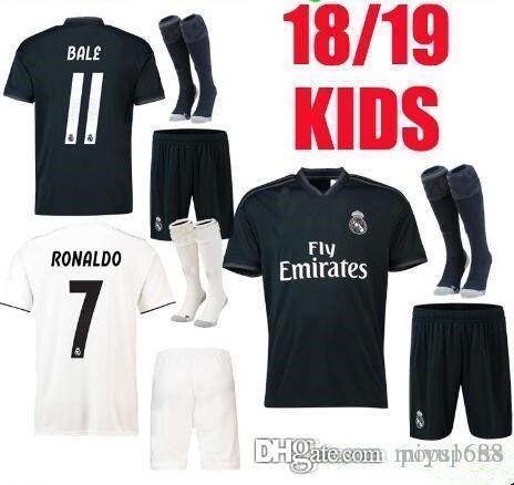 Real Madrid Soccer Jerseys 18 19 Kids Kit Home White Away Black ... 9945cd23d