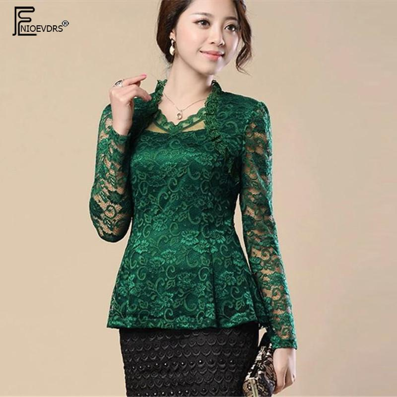 0a5fd919e2e89 2019 2 Style Lace Blouses Shirts Women Tops Fashion Slim Cute V Neck  Crochet Lace Top Red Blue Green Black Hollow Cut Out Blouse From Caesarl