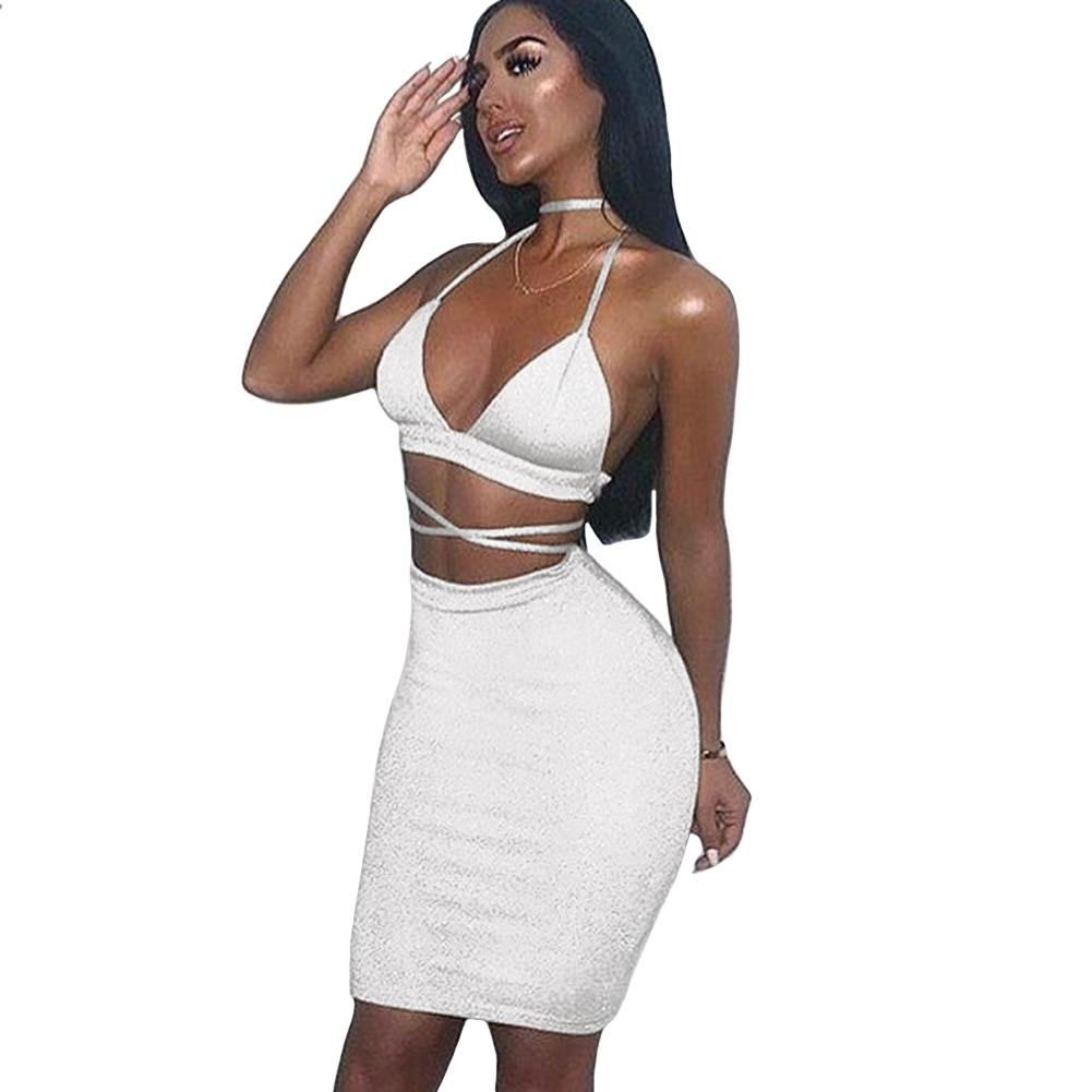 72cbb71789 2019 Hot Summer Sexy Women Cami Two Piece Set Halter Strap Crop Top Bandage  Bralette Bodycon Midi Skirt Set Party Nightclub Outfit From Mingmusic002