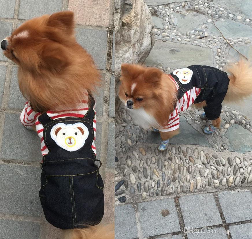 Summer Autumn Dog Short Sleeve Stripe Jumpsuit Pet Four Leg Rompers