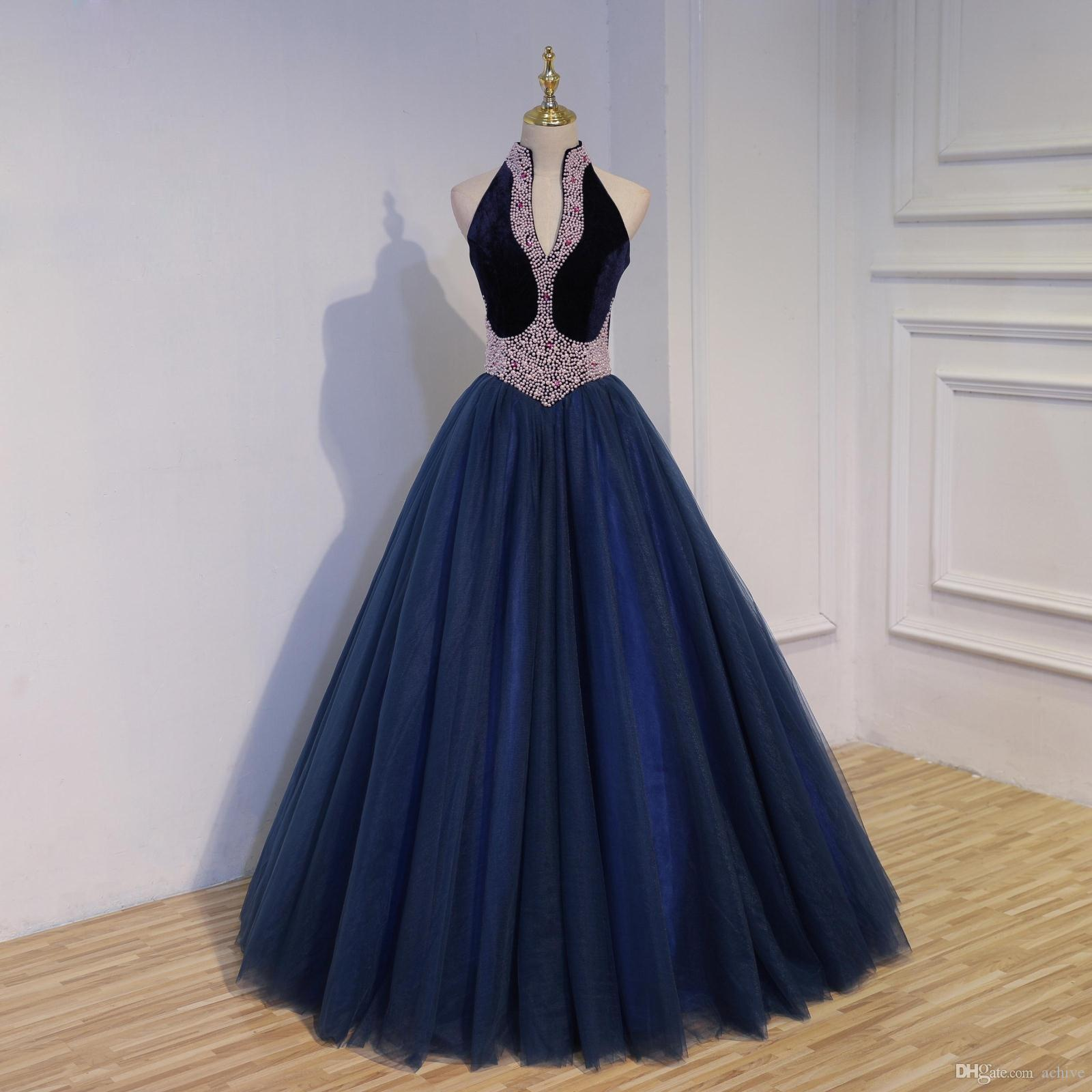 Real Vintage Dark Navy Evening Dresses 2018 Halter Beaded Pearls Crystal Ball Gown Prom Dresses Formal Corset Debutante Gowns
