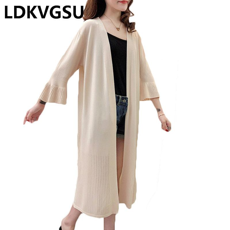 61e1dcdd174bc 2018 Spring Summer New Women Long Knitted Cardigan Solid Color Flare Sleeve  Female cardigan Sun Protection Clothing Thin Is802