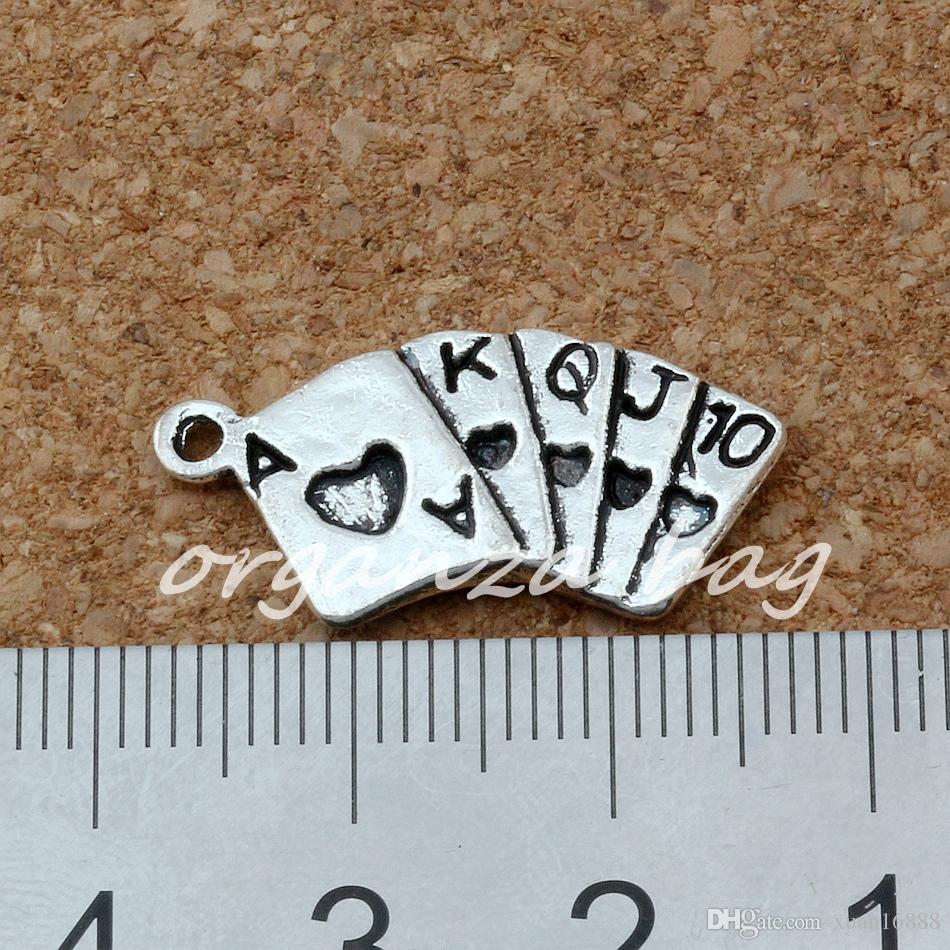 МИКРОФОН. 13x25mm старину серебряный сплав игральные карты подвески подвески DIY ювелирные изделия A-164