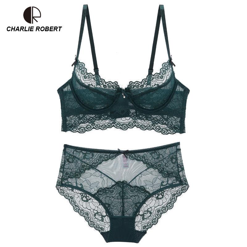 338ded0245 2019 Ultrathin Lingerie Set Plus Size Bras A B C D Cup High Waist Sexy Lace  Bra Set Transparent Women Underwear Black Embroidery Bow From Aimea