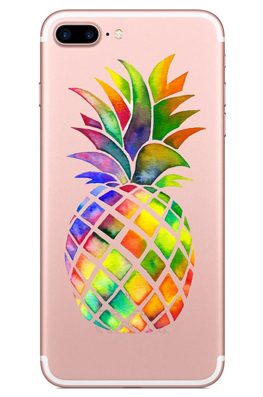 Transparent Soft Tpu Case for Iphone X 7 8 6 plus Samsung Galaxy S7 edge s8 Note Fruit Pinapple Watermelon Cartoon Phone Cases Skin Cover