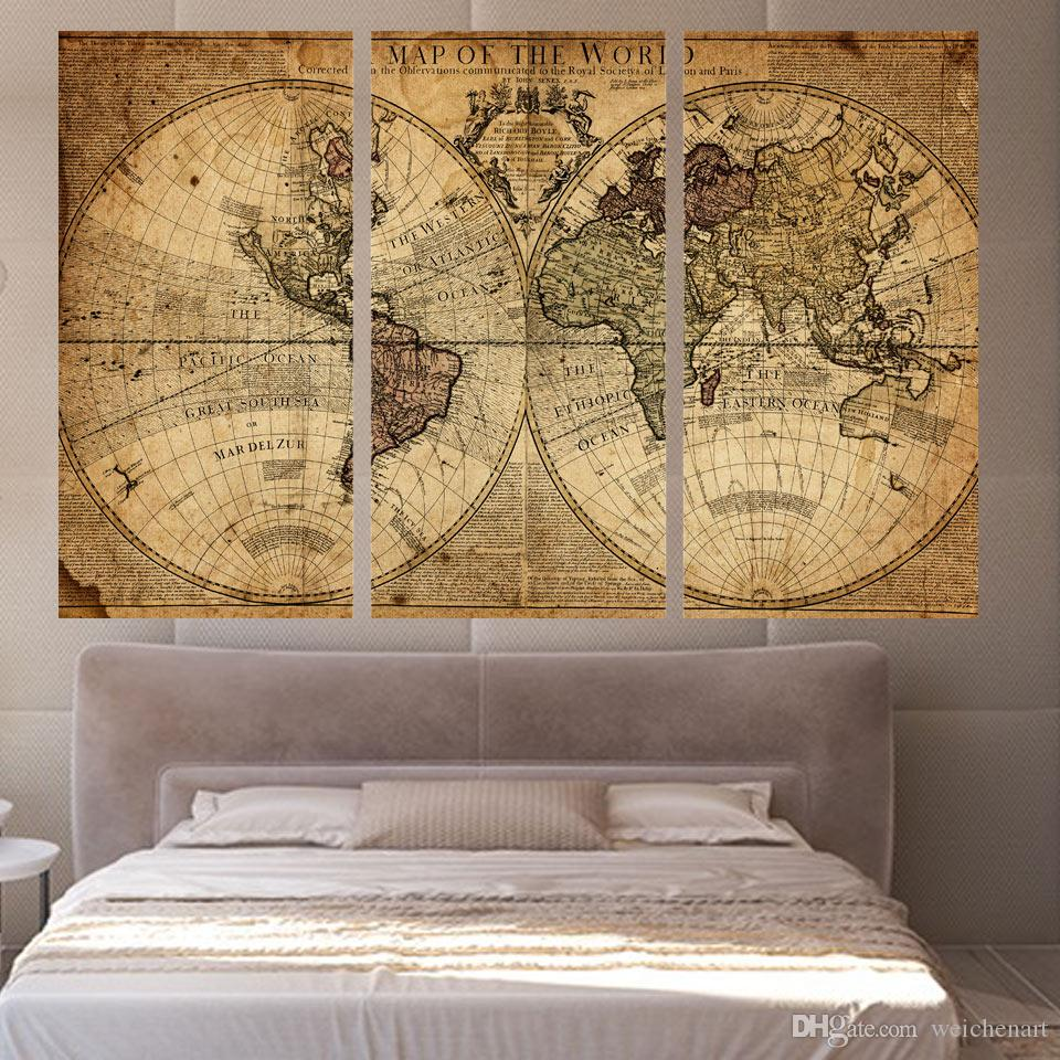 3 Panels Vintage World Map Canvas Painting Home Decor Wall Art