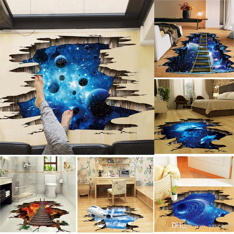 1173c6e15642 3D Outer Space Moon Stars Planet Wall Sticker Kid Baby Room Sky Smashed  Decoration Cupboard Roof Floor Decal Art Stickers Mural Buy Decals Buy Wall  Decal ...