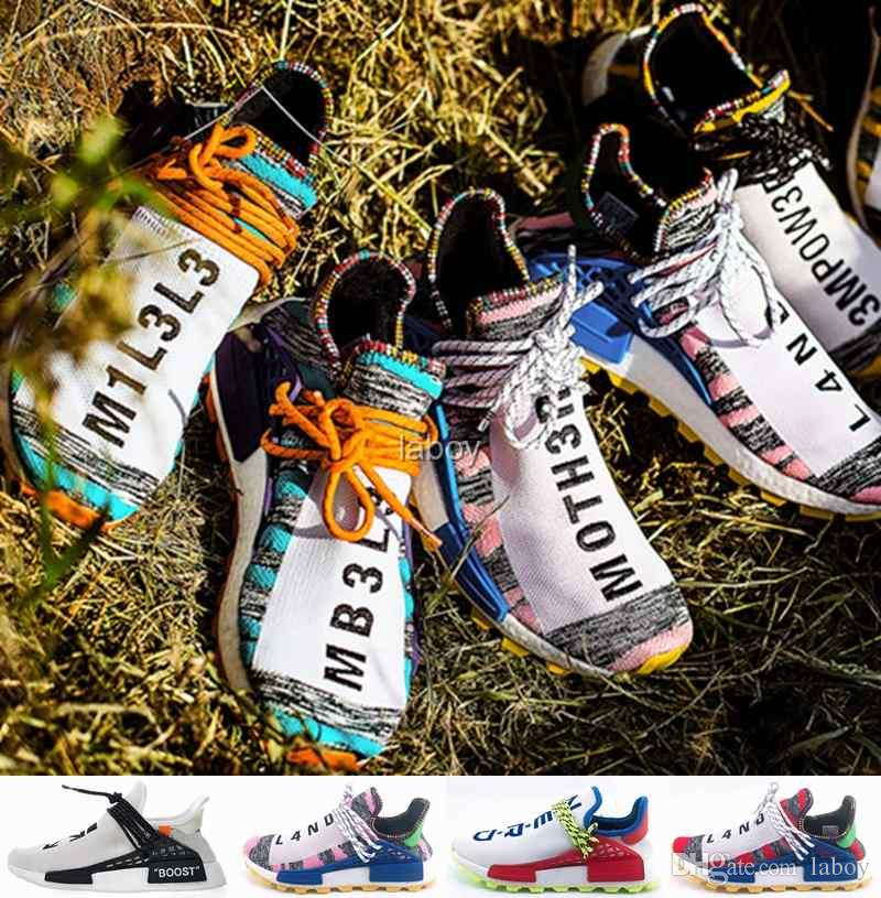 8be3be178e6ff 2018 Off Human Race Hu Trail X Pharrell Williams Men Nmd Running Shoes  Solar Pack Afro Holi White Mens Trainers Women Sports Sneakers Men Shoes On  Sale ...