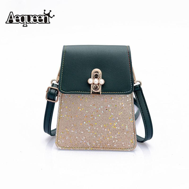 5fa8b16004 Compre AEQUEEN Diseño Bolsos De Mujer Lentejuelas Coreano Mini Bag Bolsas  Para Teléfono Celular Bolsas Pequeñas Crossbody Casual Ladies Flap Hombro  Verde A ...