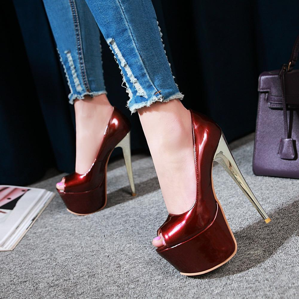 b45ac3733d 2018 Summer Shoes Platform Women Extreme High Heels Blue Red Brown Platform  Stiletto Wedding Shoes Big Size Peep Toe Pumps Shoes Uk Mens Chelsea Boots  From ...