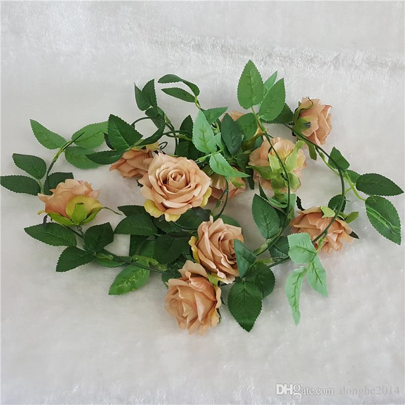 Artificial Rose Vine Wedding Blue White Artificial Rose Silk Flower Green Leaf Vine Garland Home Wall Party Decor Rose Tracery Wall