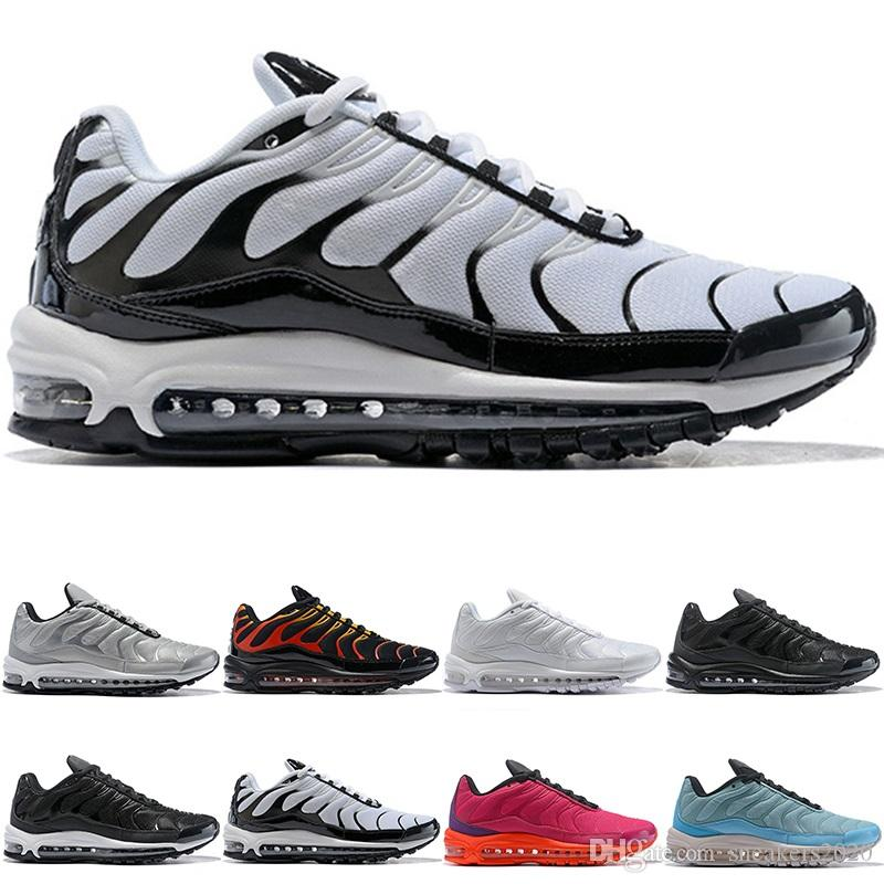 960d56262bfd 2019 Designer 97 Plus Men Women Running Shoes Triple Black White Silver  Bullet Fire Red Cheap Trainer Sports Sneakers Size 5.5 12 Discount Online  From ...