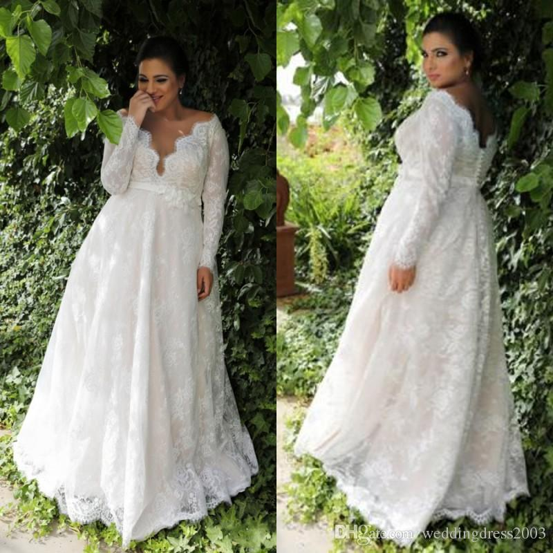 Country Style Plus Size Wedding Dresses Fall 2018 V Neck A Line Long ...