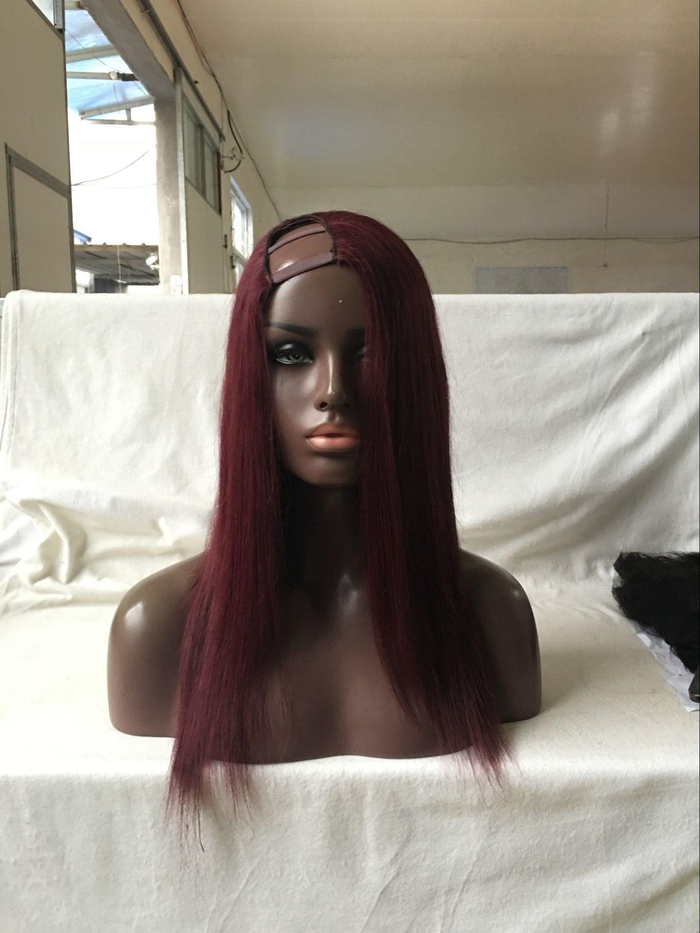 رائعة 99J لون الشعر البشري U الجزء لمة البرازيلي العذراء الشعر يسار / يمين / الأوسط U الجزء الرباط الباروكات للنساء السود مع شعر الطفل