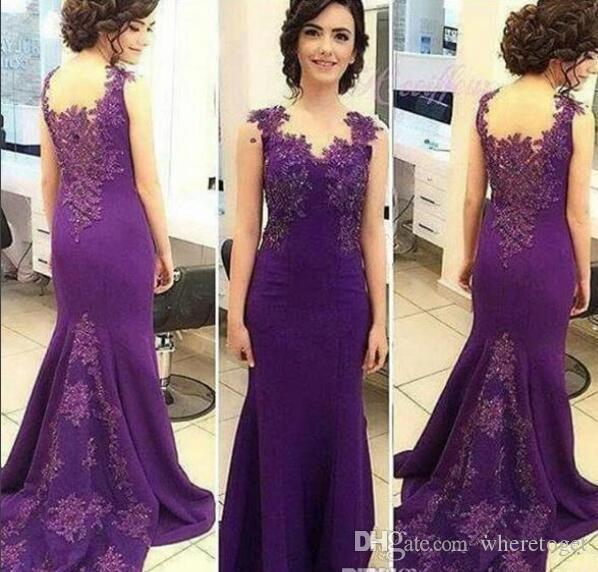 Purple Evening Gown 2018 mermaid Lace Applique Sweep Train Women Mother Of Bride Dresses Plus Size Formal Prom Gown wear