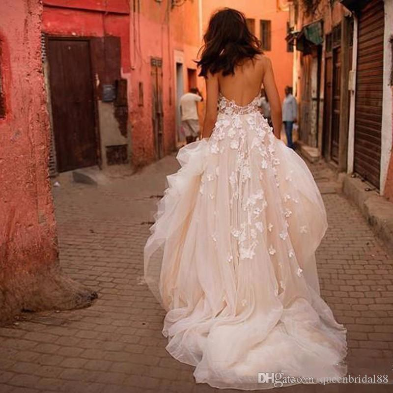 Perfect Handmade 3D-Floral Appliques Wedding Dresses 2018 Sweetheart Open Back Sexy Long Tulle Bridal Wedding Gowns