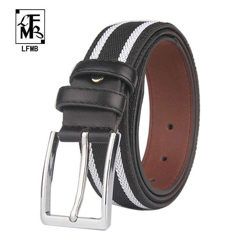 Acheter lfmb Tresse Tissée Élastique Noir Blanc Pantalon Ceinture Homme  Ceinture Homme Jeans De $18.76 Du Prevalent