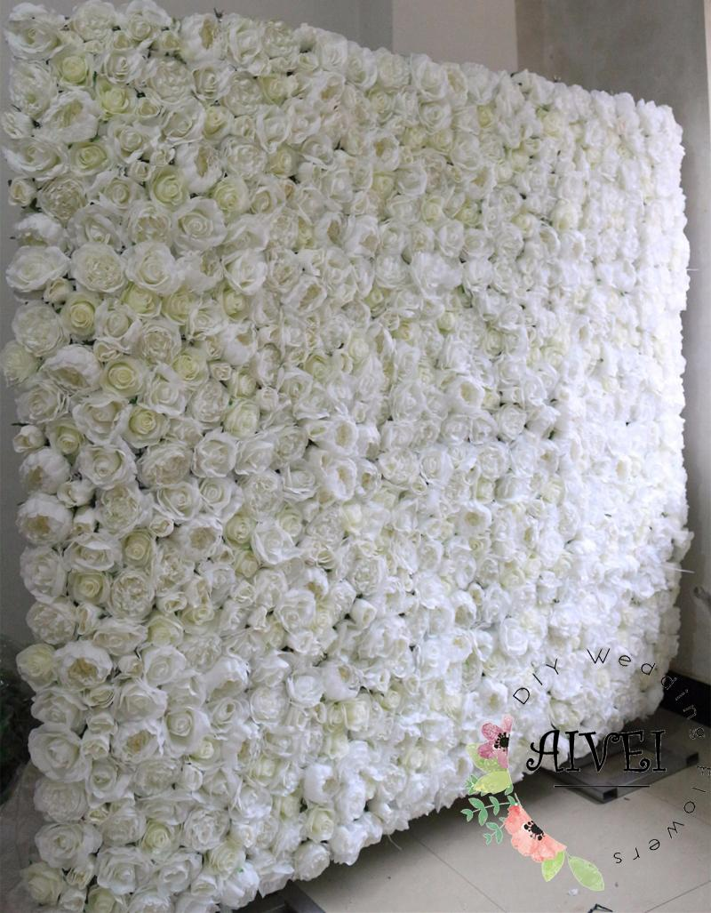 White Wedding flower wall simulation flower runner Artificial silk Whit rose wedding stage backdrop decoration or shop background decoration