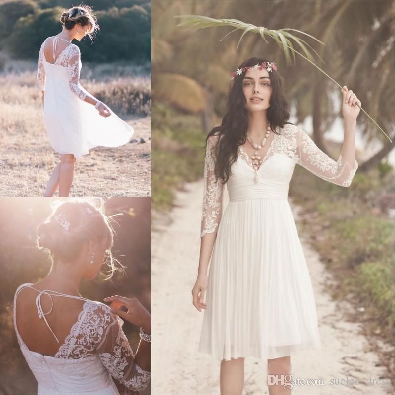 4d26bdcb63 Cheap Boho Short Wedding Dress with 3/4 Long Sleeves Illusion Sexy V Neck  Knee Length Lace Chiffon Pleats Beach Wedding Bridal Gown