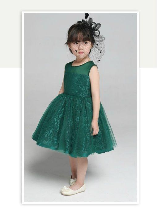 7abbf2025 Dark Green Flower Girl Dress
