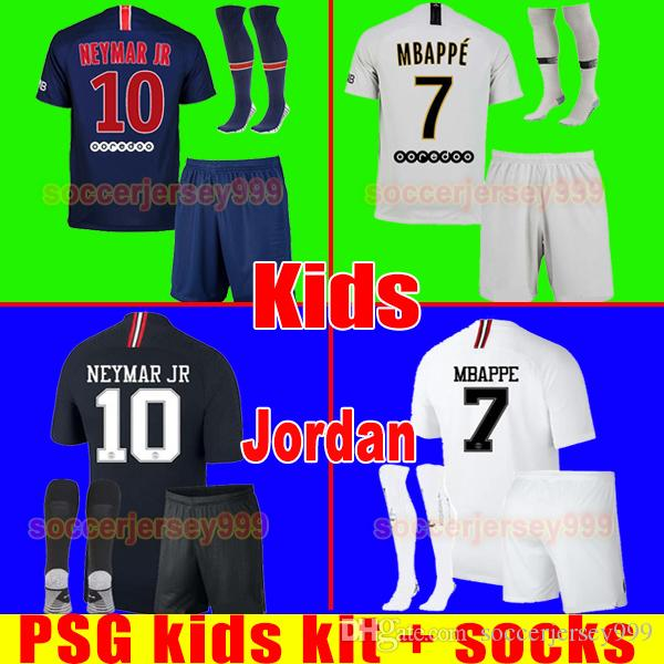 571b9164eb692 PSG Soccer Jersey Kids Kit 2019 Paris Away Third MBAPPE CAVANI DI ...