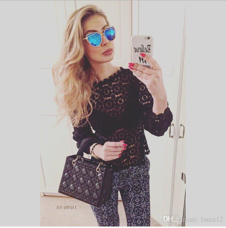 2018 New Design White Lace Women T Shirts Fashion High Neck Sheer Long Sleeves Women Tops Lady Blouse S--XL White Black In Stock