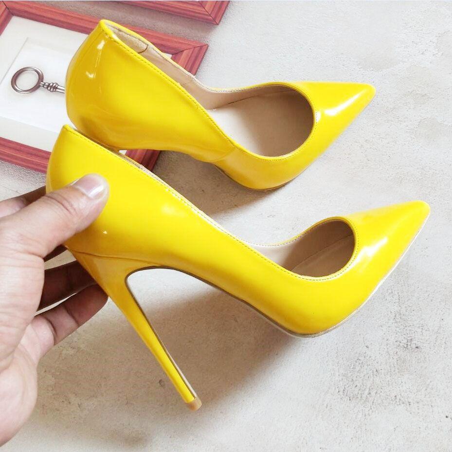 5e279d4c05 Le donne gialle con tacco alto scarpe pompe pompe 2018 primavera autunno  moda donna slip on office business festa di nozze pompe di promenade scarpe  ...