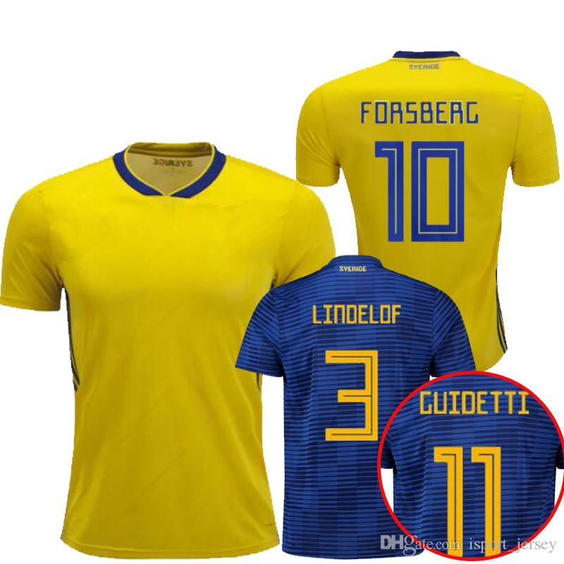 2351d3a0c32 2019 2018 SWEDEN World Cup HOME Soccer Jerseys IBRAHIMOVIC KALLSTROM  Camisetas De Futbol 18 Sweden National Team Jerseys Football Shirt Maillot  From ...