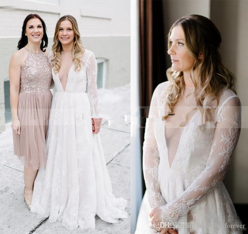 compre vestidos de novia de manga larga 2018 vintage retro encaje
