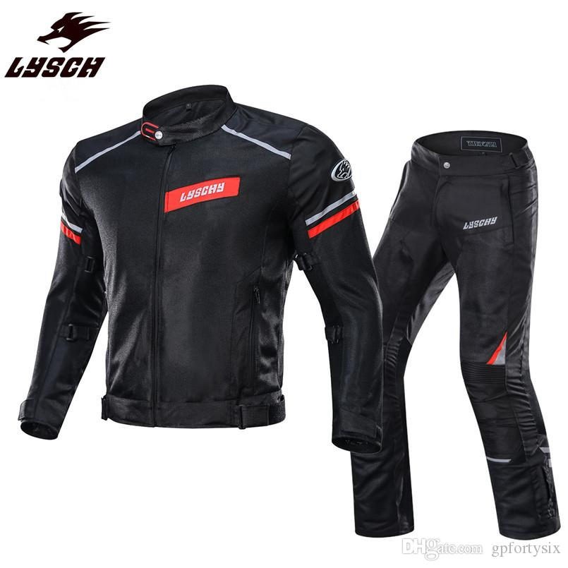 Motorcycle Jacket Men Breathable Mesh Racing Protective Gear Removable Protector Summer Moto Jacket&Pants Riding Suits Clothing